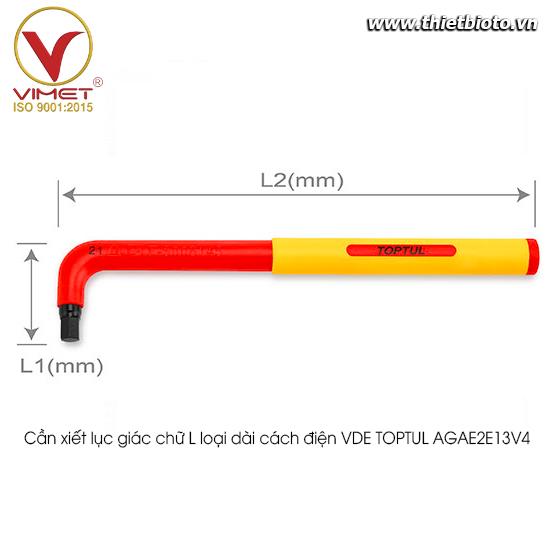 Cần xiết lục giác chữ L loại dài cách điện VDE TOPTUL AGAE2E13V4