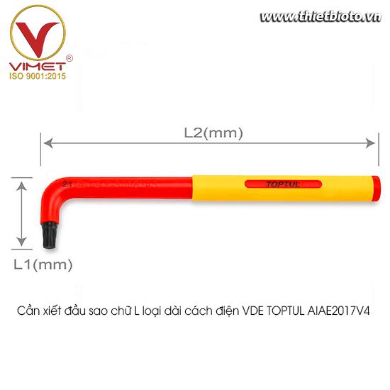 Cần xiết đầu sao chữ L loại dài cách điện VDE TOPTUL AIAE2017V4