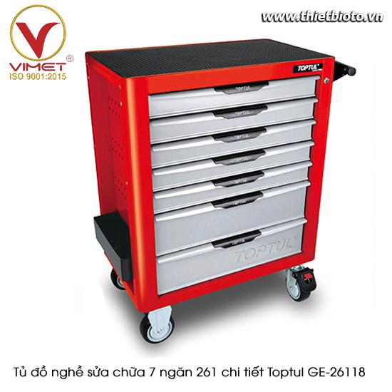 Tủ đồ nghề sửa chữa 7 ngăn 261 chi tiết Toptul màu đỏ GE-26118