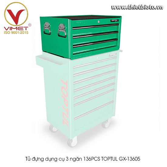 Tủ đựng dụng cụ 3 ngăn 136PCS TOPTUL GX-13605(W/3)