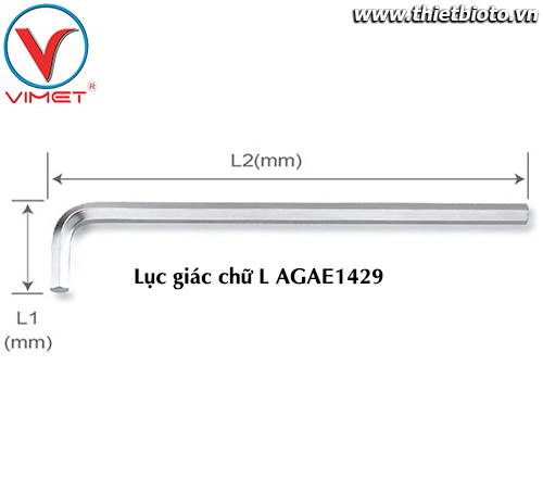 Lục giác chữ L (dài) 14mm TOPTUL AGAE1429